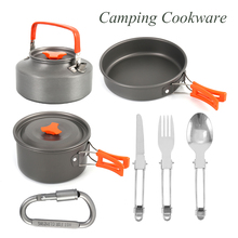 Outdoor Hiking Picnic Cookware Pot Set with Folding Knife Tableware Set Non-stick Pot Pan Camping Trip Cookware Water Bottle