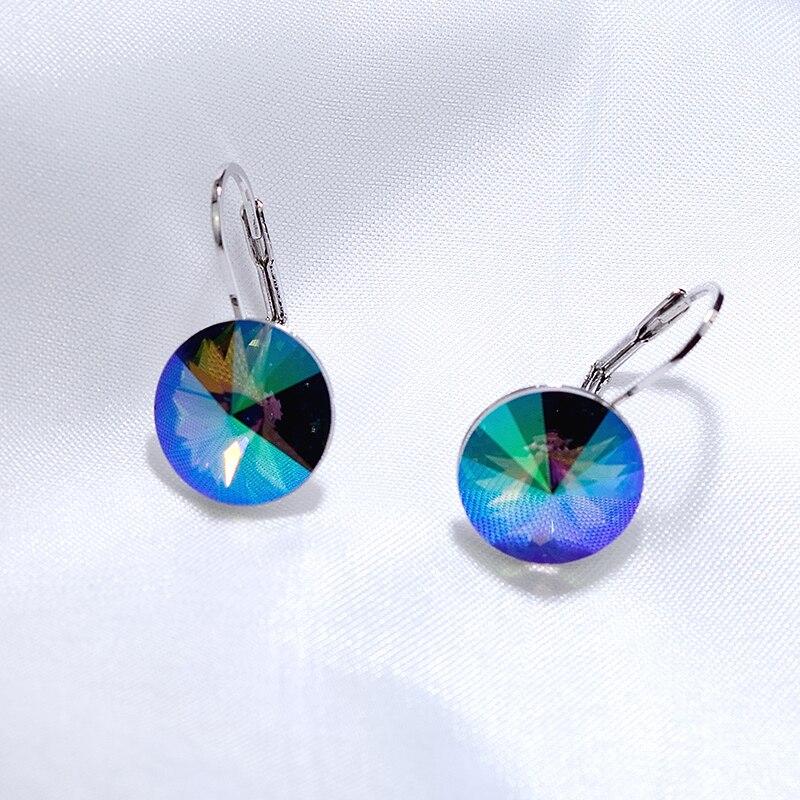 Swarovski Elements Turquoise Bella Earrings Rhodium Plated Push Back Turquoise Stud Earrings