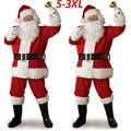Рождественский костюм Санта Клауса, косплей, одежда Санта Клауса, нарядное платье на Рождество, мужской костюм 5 шт./лот, костюм для взрослых,...