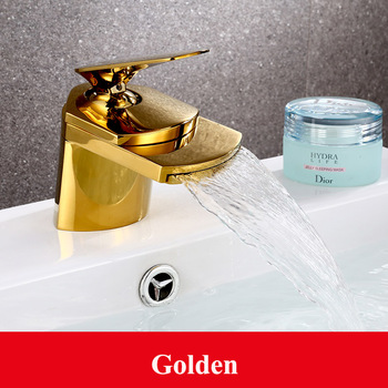 4 Colors Chrome Golden Nickel Solid Brass Waterfall Bathroom Basin Faucet Single Handle Hole Sink Hot & Cold Water Mixer Tap 10