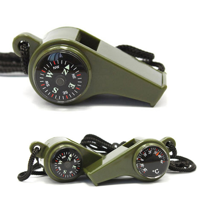 3 in 1 Outdoor Survival Emergency Whistle with Compass Thermometer Camping Hiking Cheerleading Whistle Training Multi Tools