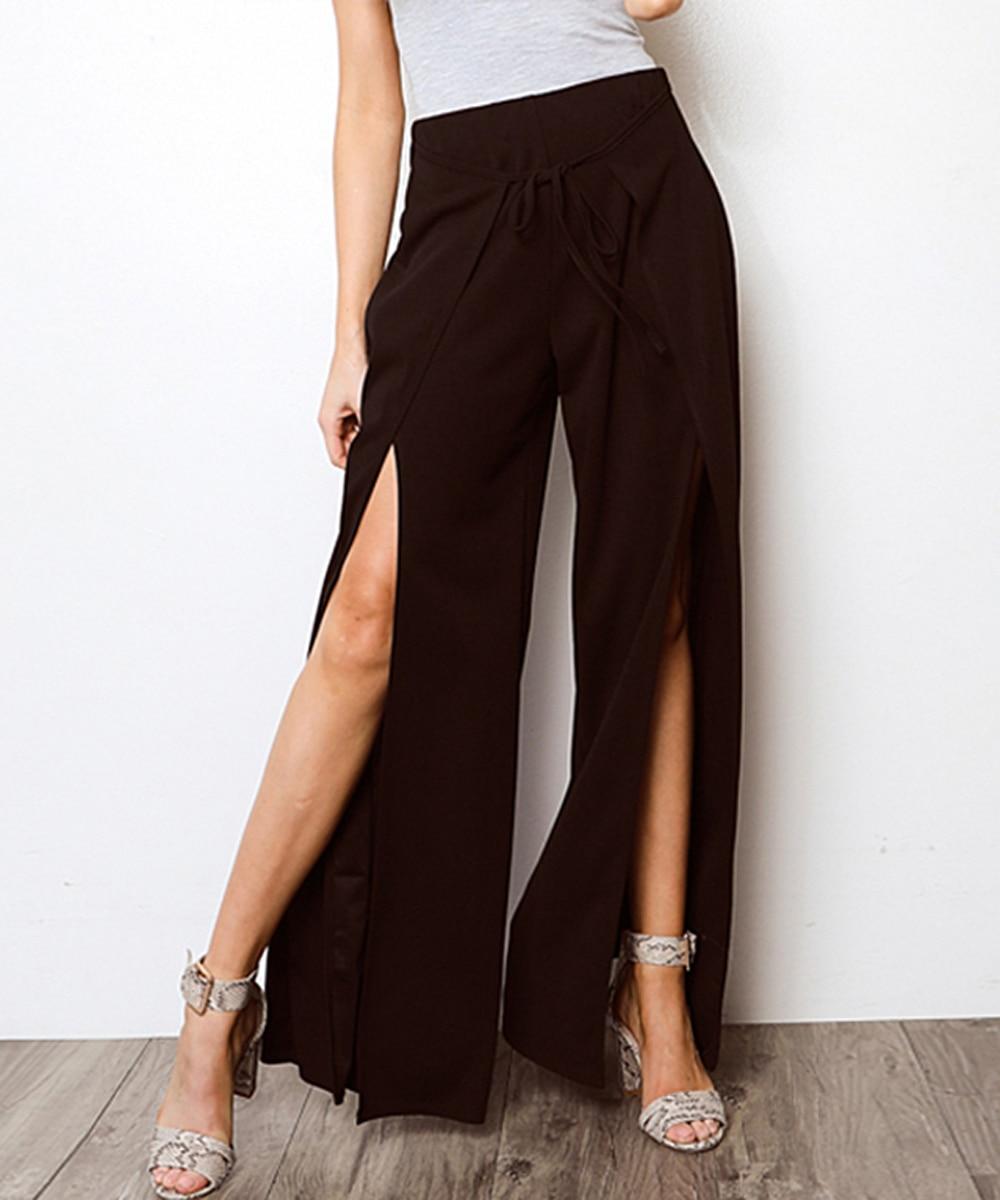 Casual Loose Trousers Women High Waist Split   Pants   Solid Color   Wide     Leg     Pant   OL Workwear Split Summer Pantalon Femme