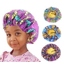 Bonnet Turban Hat Satin African Chemo-Cap Print Large Kids Night-Sleep 10pcs/Lot Adjustable