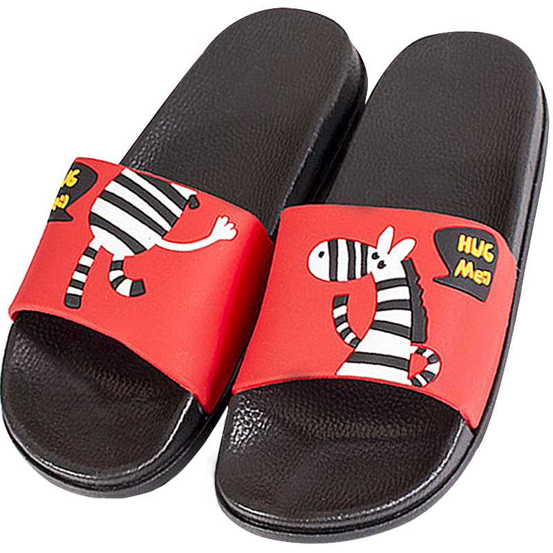Summer Couple Cartoon Zebra Soft Bottom Beach Slipper Slides On Bathroom Sandal Woman Flip FlopsThick Bottom Sandalias De Mujer