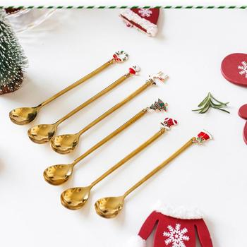 New Year 2021 Stainless Steel Christmas Spoons Offee Spoons Xmas Party Tableware Ornaments Christmas Decorations For Home Gift image