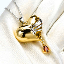 2020 Luxury Exquisite Rose Gold Color Broken Heart Silver Chain Necklaces for Women Garnet In Rib Girl Prince