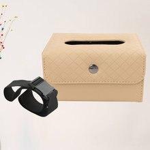 1Pc skórzane pudełko na chusteczki do samochodów wielofunkcyjna papierowa serwetka Box Nakpin Container Box (beżowy)