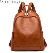 Kadın yumuşak deri sırt çantaları yüksek kaliteli Vintage sırt çantası bayanlar kese Dos okul çantaları kızlar için kadın seyahat omuz çantası