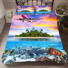Bed Cover Set Bedding Clothes 3d Sunset and Island Pattern Duvet Cover Soft Colorful Home Textiles Aricraft King Queen Size