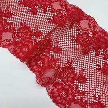 купить 3y/lot Width 22cm Floral Non-elastic Lace Trims Red Skirt Hem For Clothing Accessories Dress Sewing Applique Costume Lace Fabrics дешево