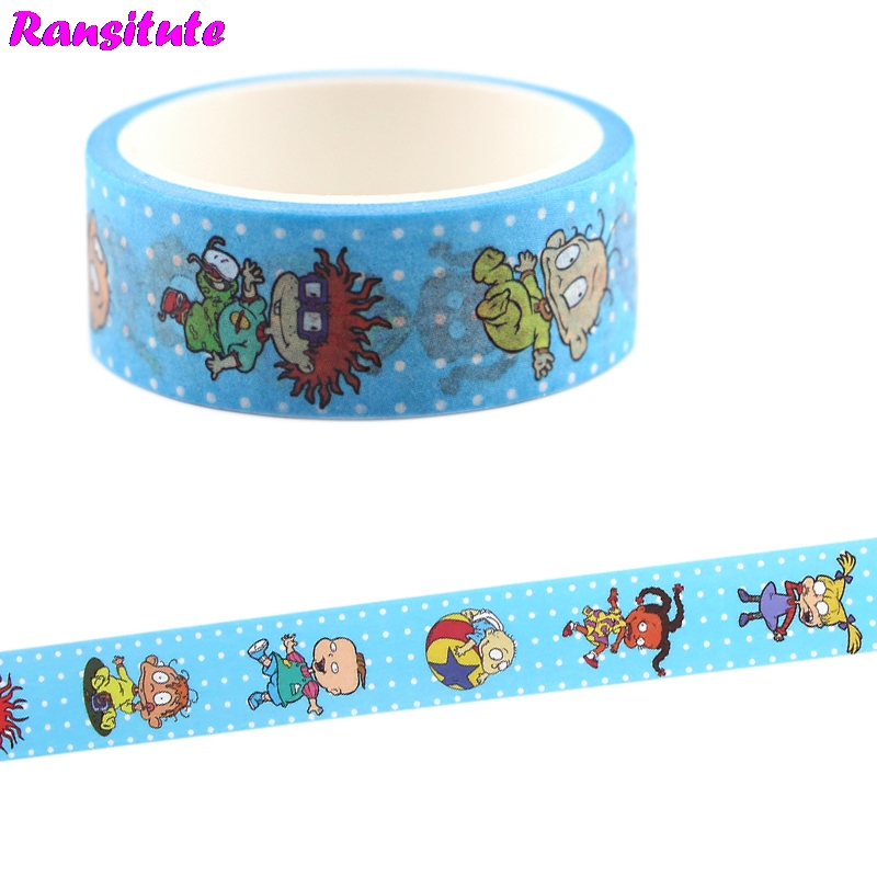 Ransitute Cartoon Cute Washi Tape Sticker DIY Scrapbook Decorative Tape Children's Hobby Art And Craft Supplies StationeryR710