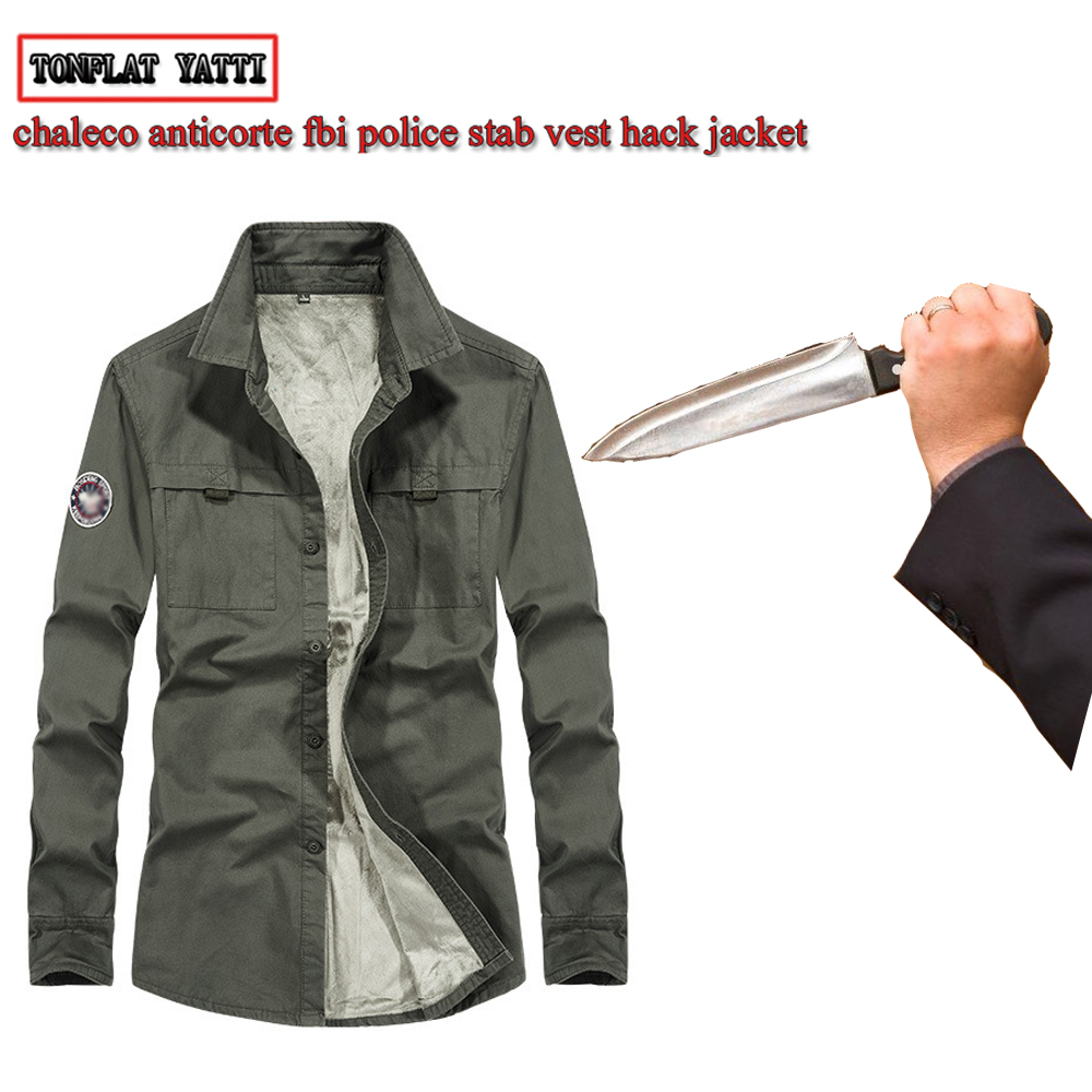 Anti-cut and stab-resistant Plus Size men fashion shirt self-defense military tactics invisible Police SWAT FBI safety clothing