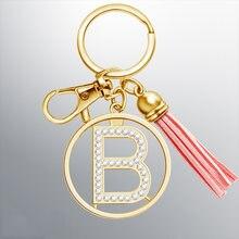 New Car Keychain Womens Fashion 26 Alphabet Letters Alloy Key Chain Bag Tassel Keyring Charm Gold Color Rhinestone Key Ring