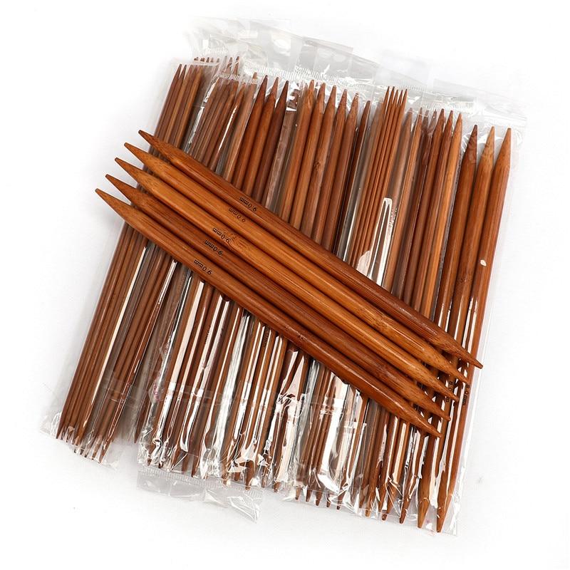 75 шт. 20 см двойные заостренные вязальные спицы из карбонизированного бамбука, вплетать в пряжу, 15 Размеров, 2-10 мм, набор спиц для вязания крюч...