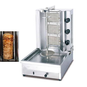 GB-800 Paslanmaz çelik gaz dikey broiler 3 brülörlü gaz shawarma kebap makinesi satılık