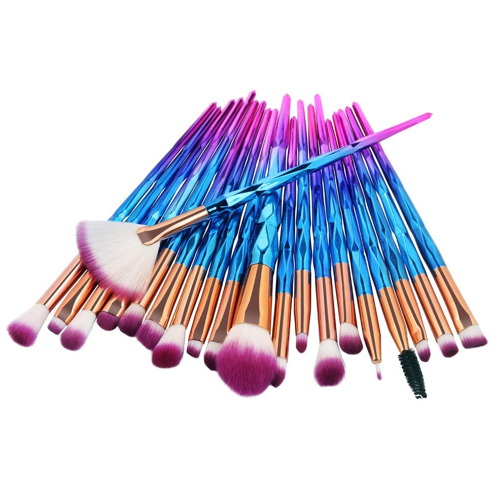 20Pcs Diamond Makeup Brushes Set Powder Foundation Blush Blending Eye Shadow Lip Cosmetic Beauty Makup Brush Pincel Maquiagem