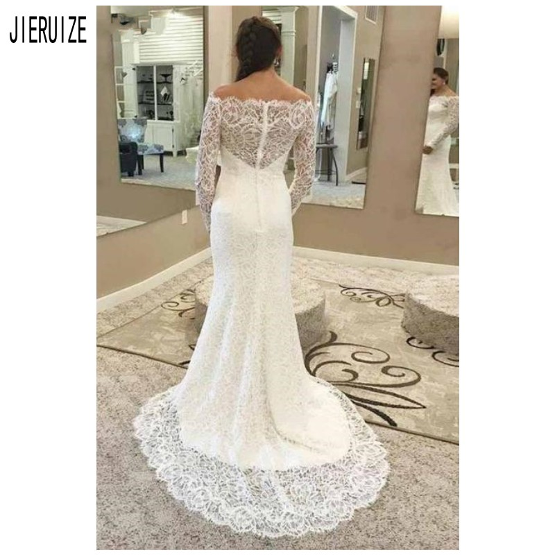 JERUIZE White Mermaid Wedding Dresses Full Lace Long Sleeve Off The Shoulder Bridal Gown Ivory Button Back Vestido De Novia