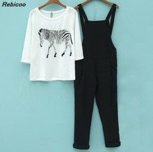 New Arrival Women T-Shirts Trousers Sets Animal Printed White Black Pants Casual Strap AE001