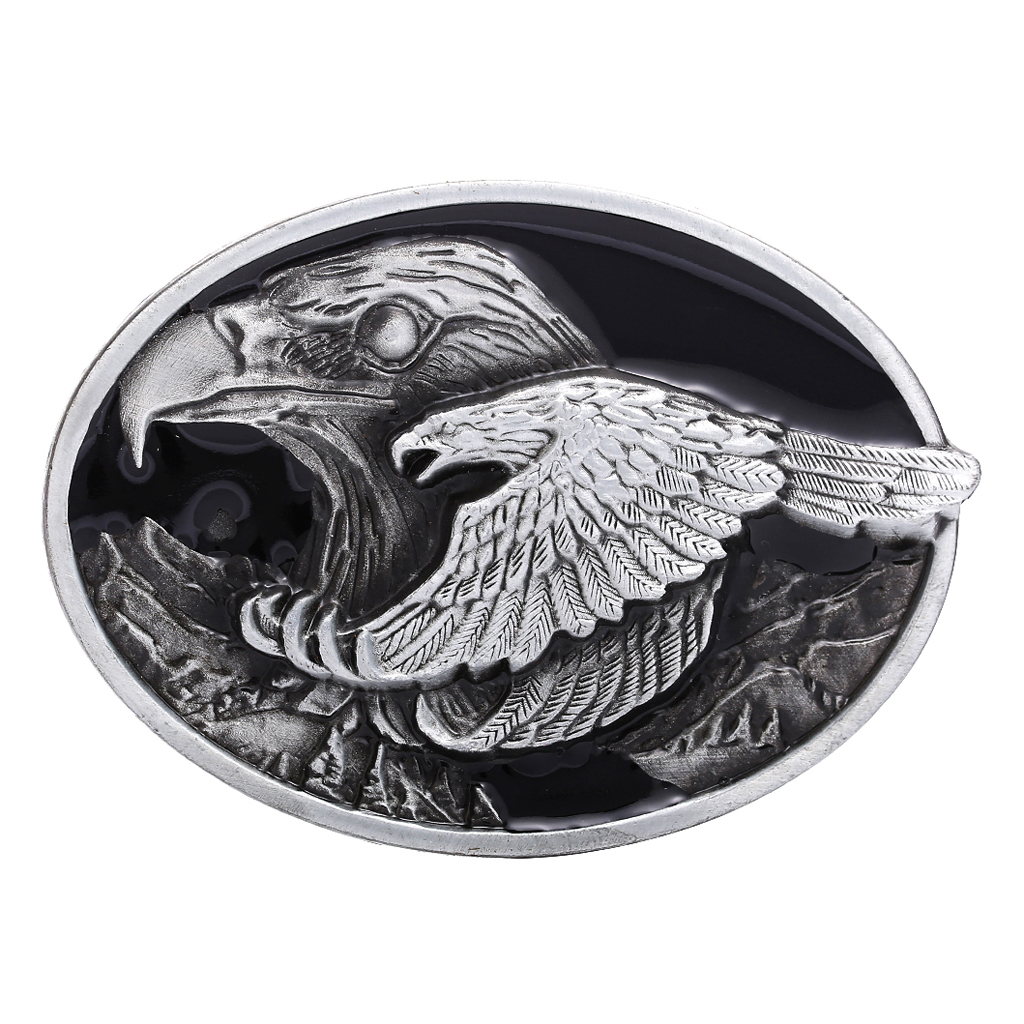 Vintage Fashion Men Western Cowboy Male Leather Belt Buckle Metal Flying Eagle Engraved Decoration
