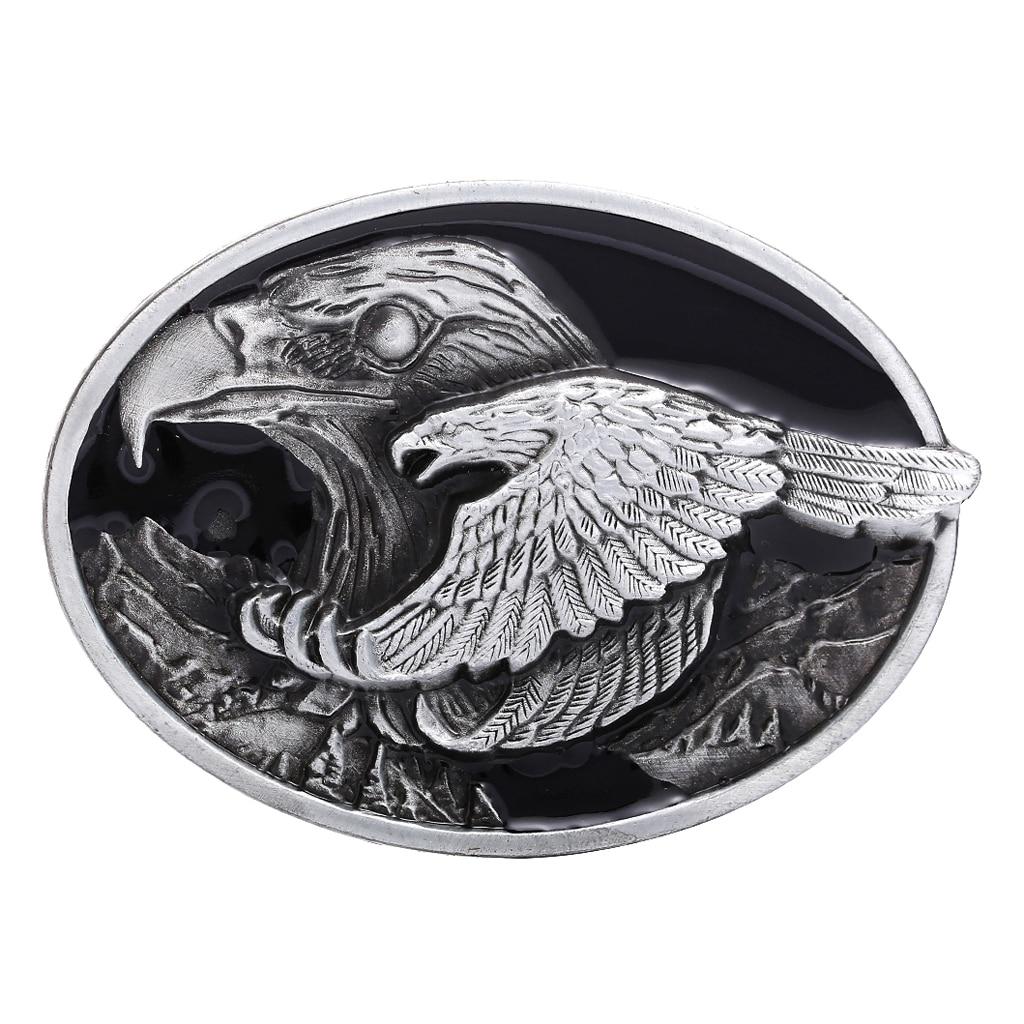 Vintage Fashion Men Western Cowboy Male Leather Belt Buckle Metal Flying Eagle Engraved Decoration