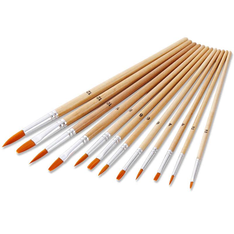 12 ピース/セットペイントブラシ異なるサイズログ色ナイロン毛の油絵ブラシセット水彩アクリルドローイングアート用品