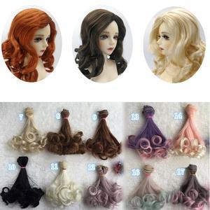 AD SD DIY do lalek włosy bjd wysokiej temperatury jedwabna peruka kręcone lalki warkocze peruki 15cm włosy dla lalek
