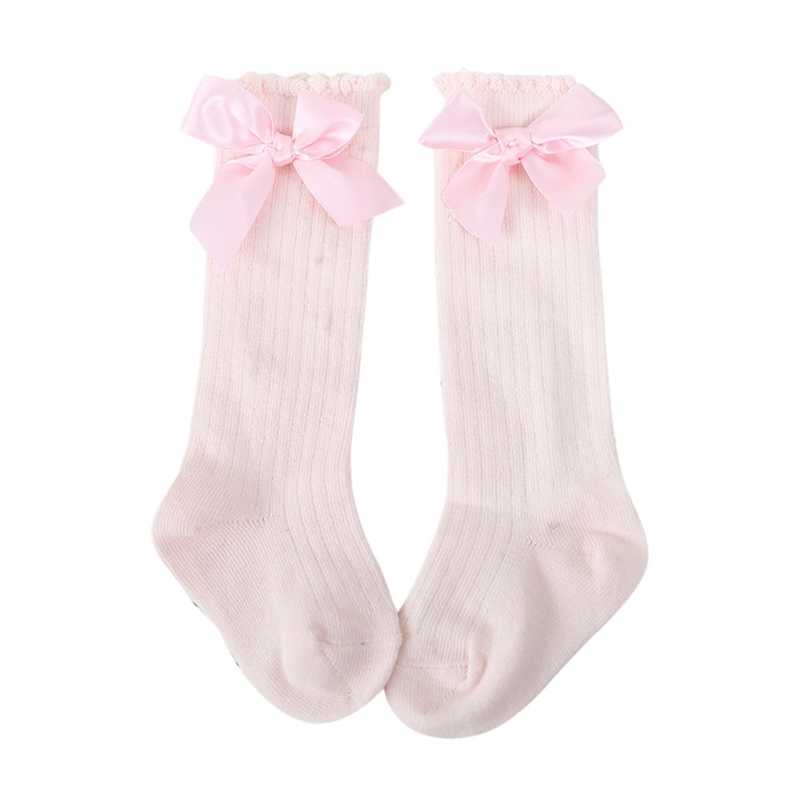 Baby Long Socks Netherstocks Toddlers Girls Big Bow Knee High Soft Cotton Lace baby Socks Kids kniekousen meisje Dropshipping