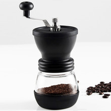 Adjustable Manual Coffee Grinder With Glass Jars Brush Spoon Hand Coffee Mill Durable Coffee Bean Grinder Kitchen Tools(China)