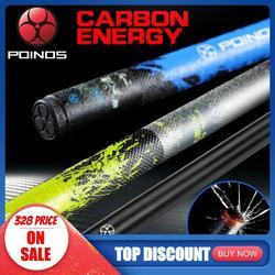 Professionale In Fibra di Carbonio Cue Stick Piscina POINOS Biliardo Cue Stick Piscina Cue Kit 13.1 millimetri Punta di Nero di Carbonio In Carbonio Albero in fibra di bambù
