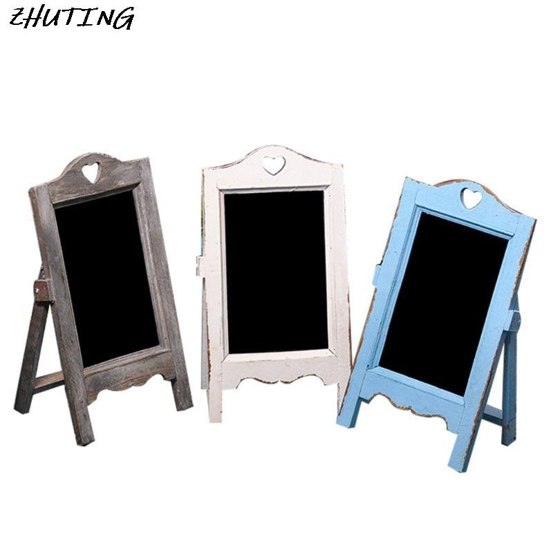Wooden Blackboard Desktop Memo Message Letter Chalk Board With Easel Office Classroom Restaurant Store Supplier