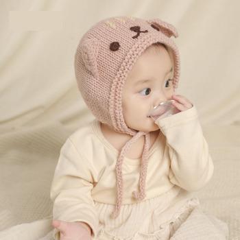 Dla dzieci kapelusz jesień i zima w stylu koreański ręcznie Cute Kitten koronki dziecko kapelusz z dzianiny Plus aksamitna ciepła z wełny kapelusz tanie i dobre opinie CN (pochodzenie) COTTON Adjustable Unisex W stylu rysunkowym baby 10-12 miesięcy 13-18 miesięcy 19-24 miesięcy