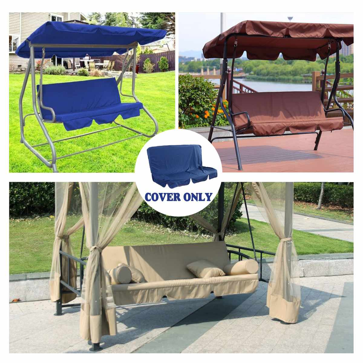 104*47*47cm/153*52*52cm Swing Cushion 5 Colors Waterproof Dustproof Chair Replacement Canopy Spare Fabric Cover Dust Covers