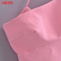 Tangada Women Solid Pink Mini Dress Strap Sleeveless 2021 Korean Fashion Lady Short Dresses Vestido 3H446 4