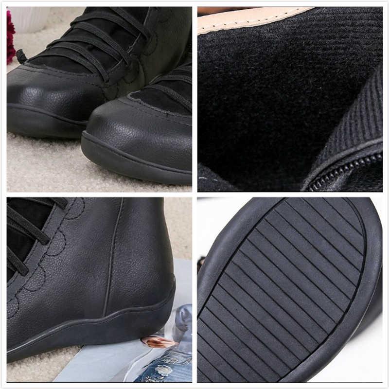 Kadın PU deri yarım çizmeler kış kar botları sonbahar düz ayakkabı bayan ayakkabıları kısa peluş çapraz kayış Vintage Punk Mujer Botas