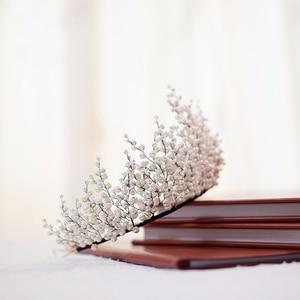 Image 4 - New Design Pearl Big Crown Wedding Tiara And Crown Gorgeous Black Wire Handmade Headband  Vintage Jewelry Bridal Headpiece