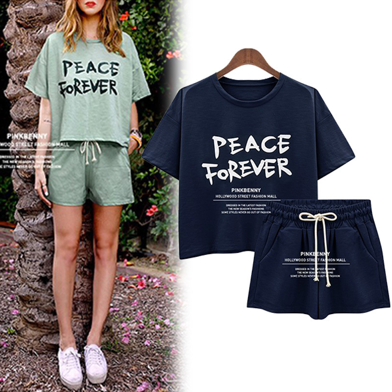 New Style Korean-style Loose-Fit T-shirt Large Size Dress Lettered Short Sleeve T-shirt Shorts Sports Set Casual Summer
