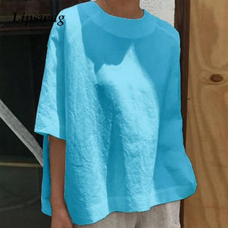 Autumn Turn-down Collar Cotton Linen Blouse Shirt Women Elegant Half Sleeves pullover Tops Vintage Casual Loose Plus Size Blusas