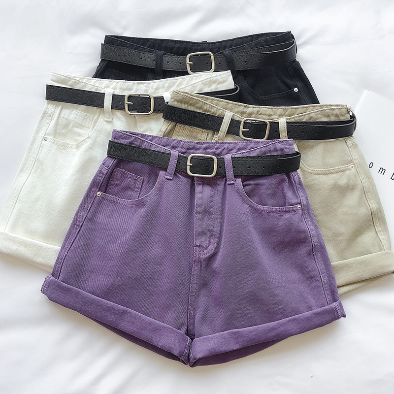 Summer Women Purple Denim Shorts 2020 Female High Waist Loose Wide Leg Curled Hot Shorts For Womens
