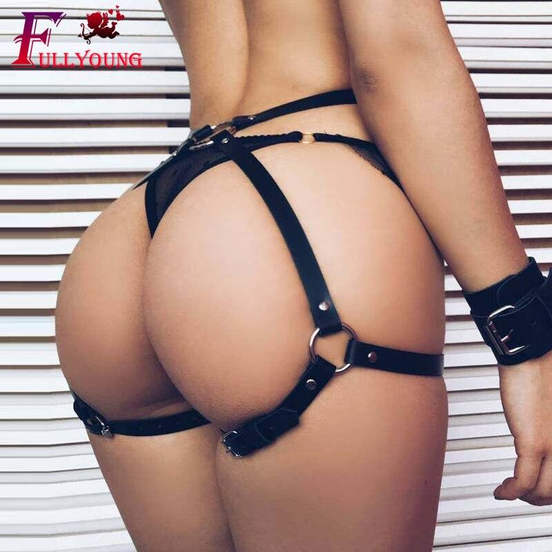 Fullyoung Punk Leather Harness Garter Belts Sexy Body Bondage High Waist Garter Belt Stocking Suspenders Leg Harness