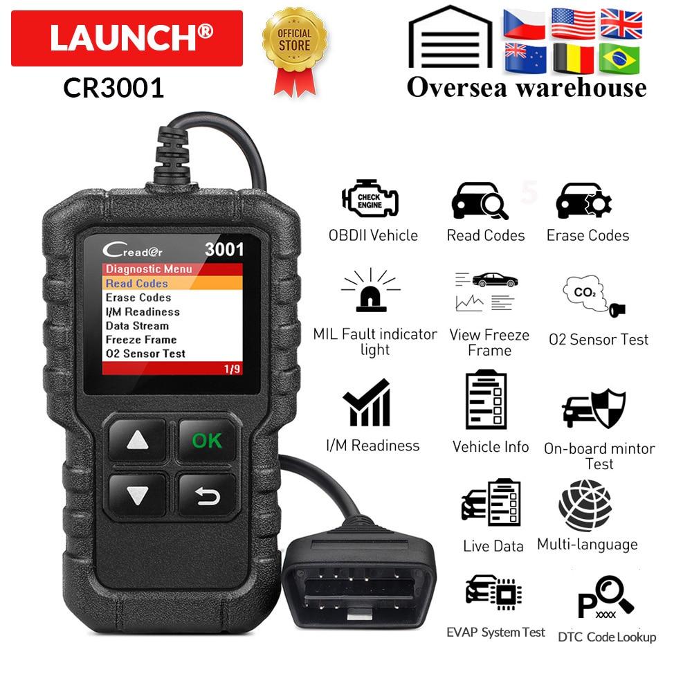 LAUNCH X431 CR3001 OBDII Code Reader Scanner OBD2 Scan Fault Code Reader Analyzer For Cars Creader 3001 Better Than ELM327