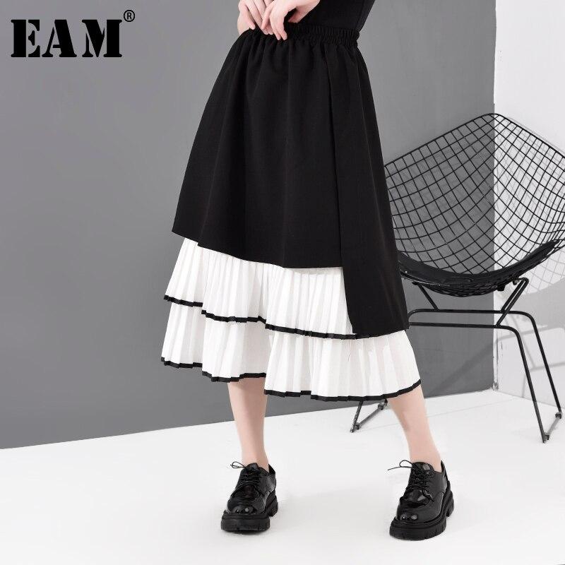 [EAM] High Elastic Waist Black Ruffles Split Joint Pleated Cake Half-body Skirt Women Fashion Tide New Spring Autumn 2020 1R184