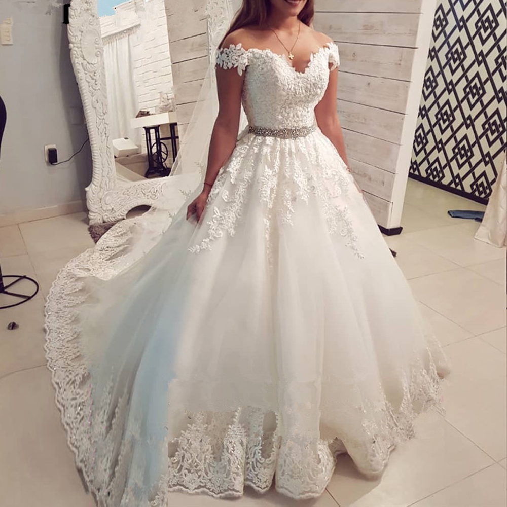 Luxury Lace Flower Off The Shoulder White Ivory Fashion 2019 Wedding Dresses For Brides