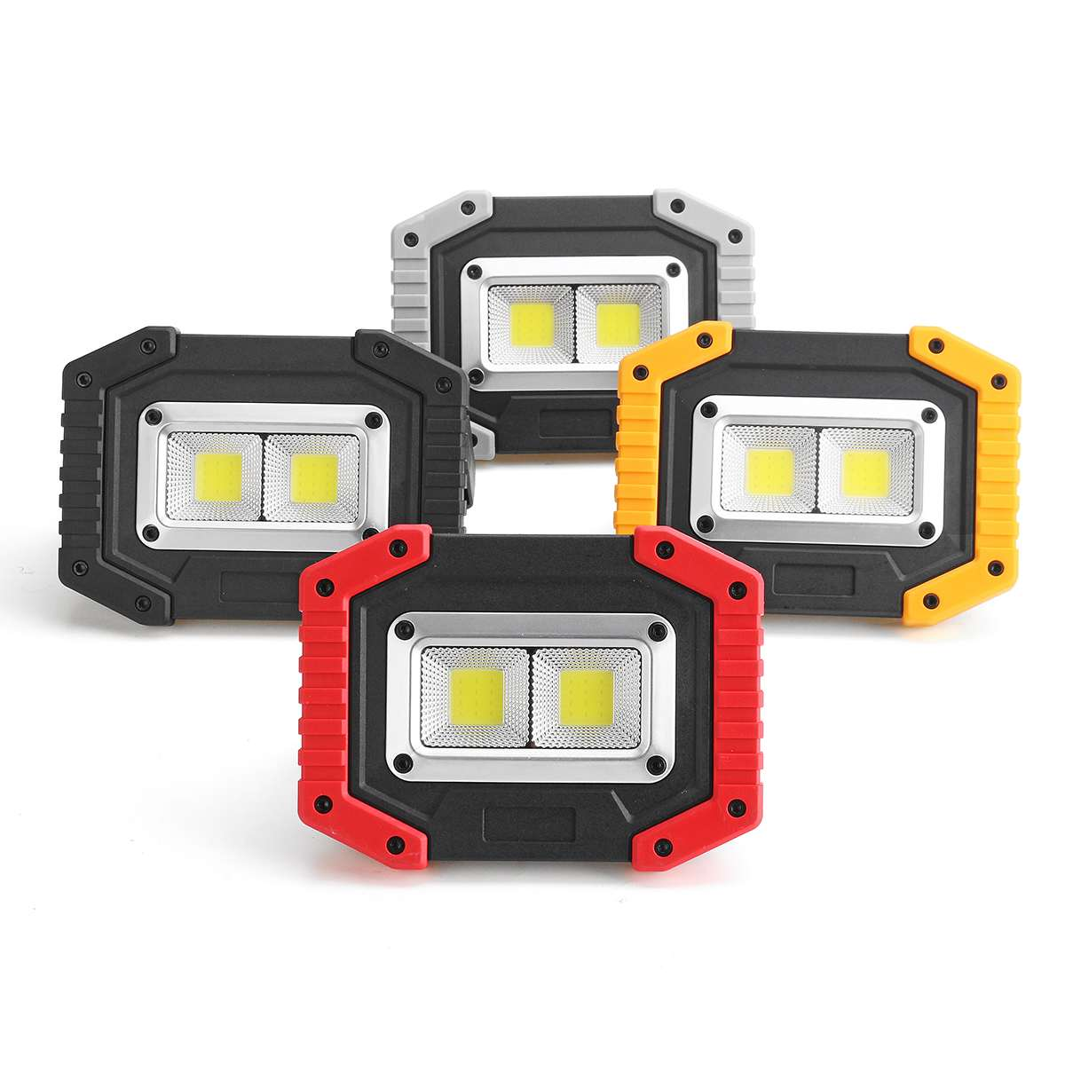 30W 2 COB LED Portable Spotlight Outdoor Light For Hunting Camping Lamp Floodlight Searchlight 18650 Rechargeable Battery