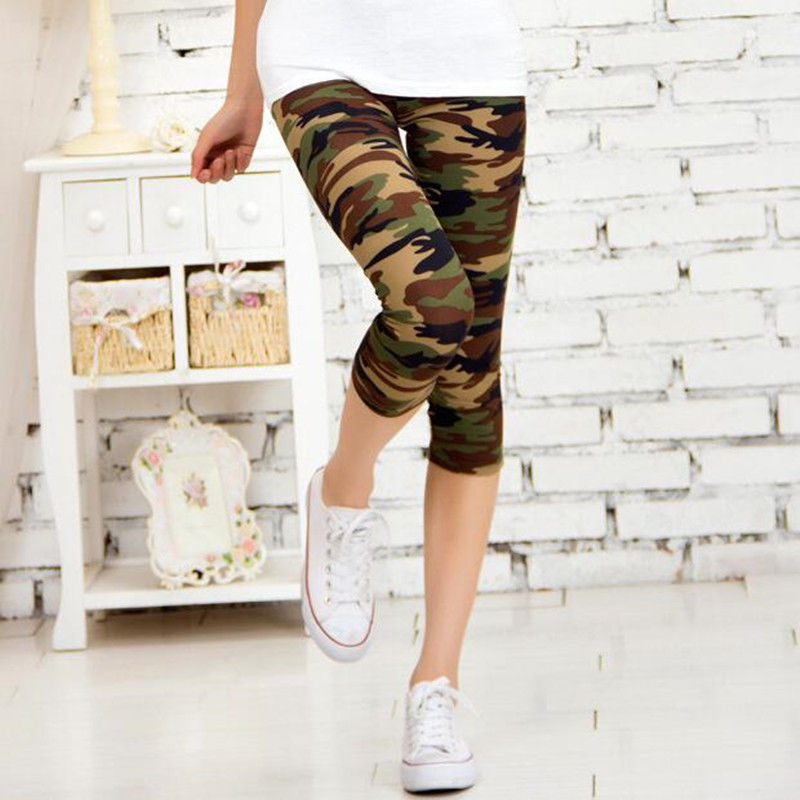 VISNXGI Camouflage Printed Leggings Women Pants Elastic Fitness Leggins Polyester Plus Size Capris Workout Knee-Length Trousers