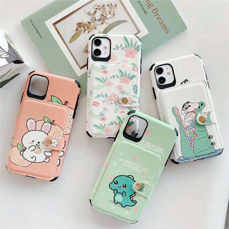 Coque For iPhone SE 2020 Case Cute Cartoon Dinosaur Unicorn Floral Card Holder Phone Cover for iPhone 11 Pro Max X XS XR 7 8plus