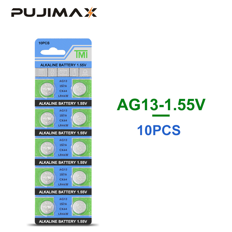 PUJIMAX AG13 alkaline button battery 10PCS/pack <font><b>LR44</b></font> 357A S76E G13 <font><b>AG</b></font> <font><b>13</b></font> 1.5V for watch calculator toy clock Coin Cell Battery image