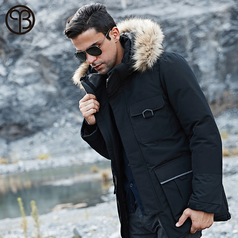 2019 Men Down Jacket Men's Winter Coat Long Parkas White Duck Down Coats Fur Hooded Thick Warm Joggers Tracksuit Male Outerwear