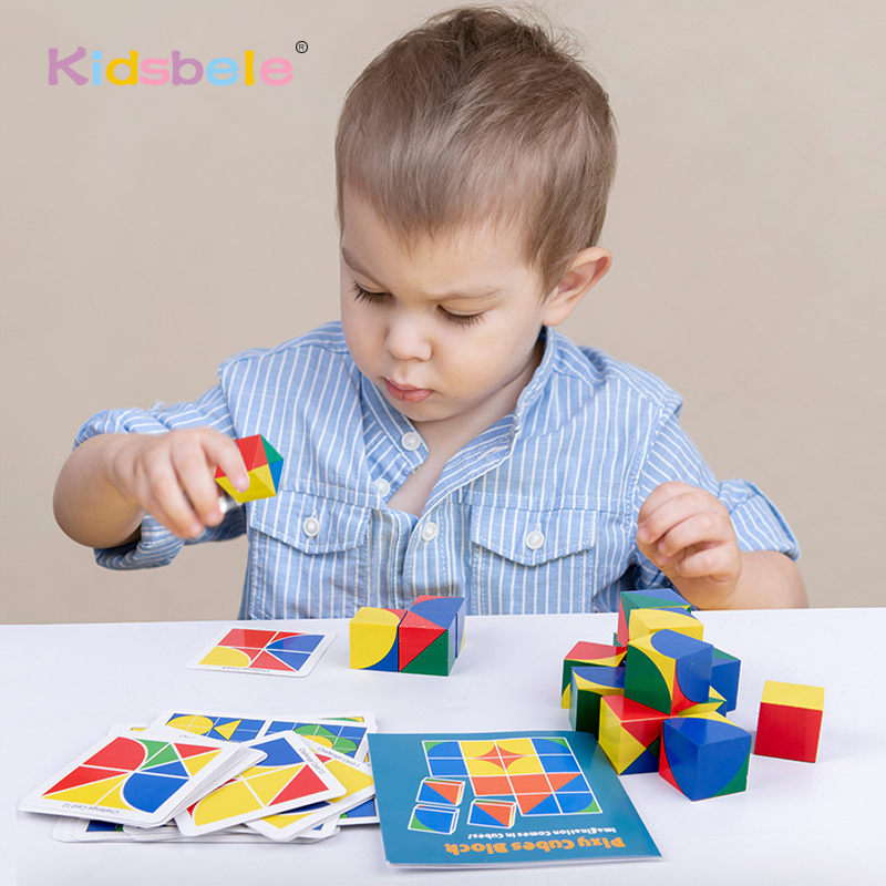 Children Wooden 3D Jigsaw Puzzle Toys Cubes Preschool Educational Monterssori Toys For Kids Interactive Game Toys