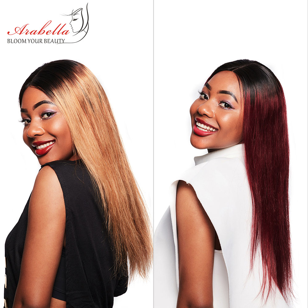 Arabella 1B/27 Straight Hair Lace Front Wig With Baby Hair Pre Plucked  Hair 13*4 Lace Front Wig Colored  Lace Wig 2