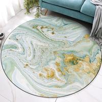 Nordic abstraction Watercolor blue green gold round carpet living room floor mat bedroom plush round rug non slip door mat